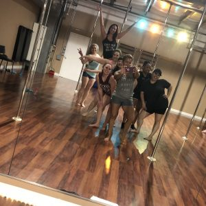 group photo at the girl spot pole fitness studio